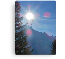 Beautiful nature mountains paragliders Canvas Print