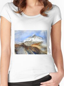 Monastery on the background of Mount Kazbek in the Caucasus mountains Women's Fitted Scoop T-Shirt
