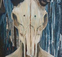 Acrylic Rams Skull Painting by katrinaalice