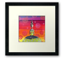 Zen Girl Under Rainbow Sky - Colorful Yoga Art Framed Print