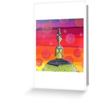 Zen Girl Under Rainbow Sky - Colorful Yoga Art Greeting Card