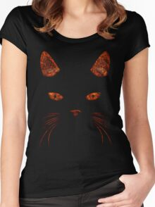 Fiery Cat Face T Shirt Women's Fitted Scoop T-Shirt