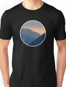 Beautiful nature mountains sunset circle Unisex T-Shirt