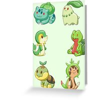 Pokemon Starters - Grass Types Greeting Card