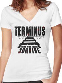 Terminus Tracks Women's Fitted V-Neck T-Shirt