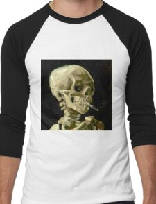 Skull of a Skeleton with Burning Cigarette Men's Baseball ¾ T-Shirt