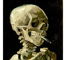 Skull of a Skeleton with Burning Cigarette Photographic Print
