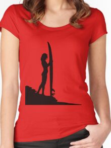 Surfing Silhouette Women's Fitted Scoop T-Shirt