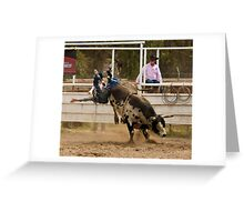 Rodeo Cowboy Thrown from a Bull Greeting Card