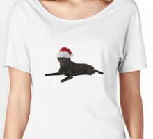 Black Lab Santa Claus Merry Christmas Women's Relaxed Fit T-Shirt