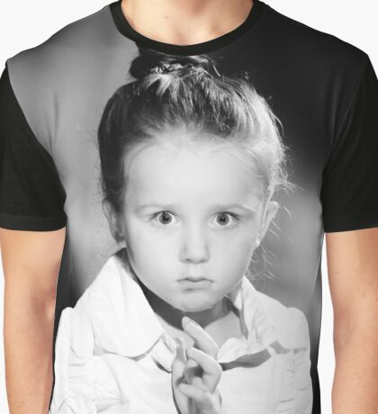 Emotional portrait of cute little girl in vintage style Graphic T-Shirt