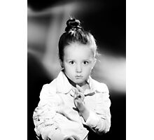 Emotional portrait of cute little girl in vintage style Photographic Print