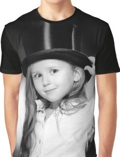 Cute little girl posing in gibus, old-style opera hat, vintage photo Graphic T-Shirt