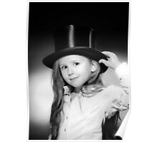 Cute little girl posing in gibus, old-style opera hat, vintage photo Poster