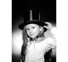 Cute little girl posing in gibus, old-style opera hat, vintage photo Photographic Print