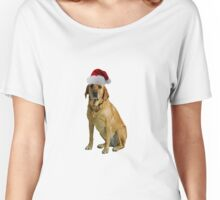Yellow Lab Santa Claus Merry Christmas Women's Relaxed Fit T-Shirt