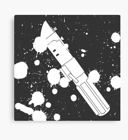 Darth Vader Lightsaber Paint Splatter (Black and White) Canvas Print