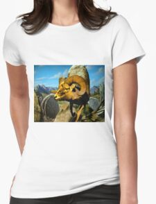 Mountain Sheep Watercolor Womens Fitted T-Shirt