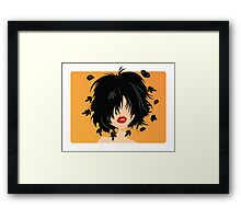 Young woman with black hair, leaves and butterflies coming out of her hair, on orange background Framed Print