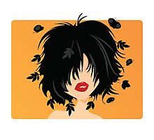 Young woman with black hair, leaves and butterflies coming out of her hair, on orange background Photographic Print