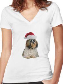 Shih Tzu Santa Claus Merry Christmas Women's Fitted V-Neck T-Shirt