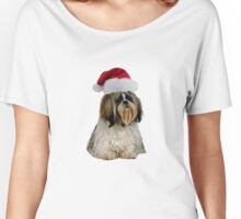 Shih Tzu Santa Claus Merry Christmas Women's Relaxed Fit T-Shirt