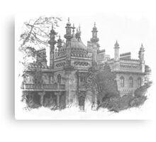 Royal Pavilion Black and White Metal Print