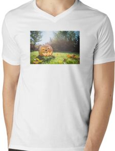 Halloween pumpkin on grass and leaves in the garden in nice sunny day Mens V-Neck T-Shirt