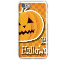 Happy Halloween card with pumpkin iPhone Case/Skin