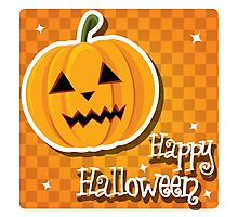 Happy Halloween card with pumpkin Photographic Print