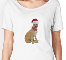 Staffordshire Bull Terrier Santa Claus Merry Christmas Women's Relaxed Fit T-Shirt