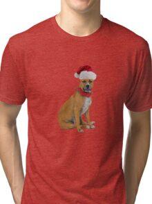 Staffordshire Bull Terrier Santa Claus Merry Christmas Tri-blend T-Shirt