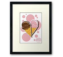 Ice cream happy birthday card with bubbles Framed Print