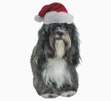 Tibetan Terrier Santa Claus Merry Christmas Kids Tee