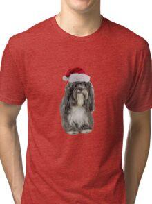 Tibetan Terrier Santa Claus Merry Christmas Tri-blend T-Shirt