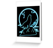 Blue Moon Wolf (Transparent) Greeting Card