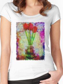 Three Tulips Women's Fitted Scoop T-Shirt