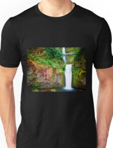 Bridge over waterfall full with green leaves and water pool Unisex T-Shirt