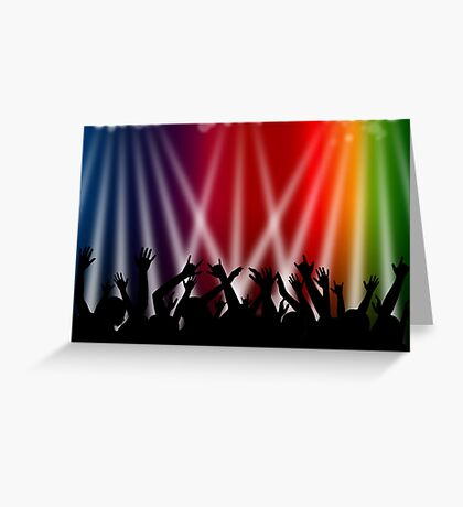 Dancing Crowd With Multi Colour and White Spotlights Greeting Card