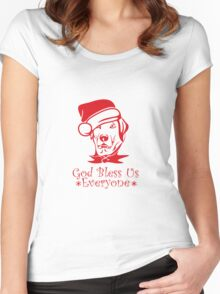 God Bless Everyone - Dog wearing Red Santa Hat Women's Fitted Scoop T-Shirt