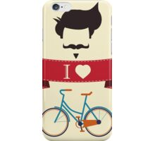 I love hipster vintage hair style, mustache and bicycle iPhone Case/Skin
