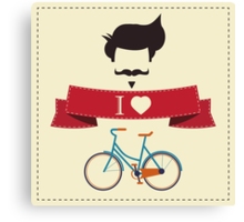 I love hipster vintage hair style, mustache and bicycle Canvas Print