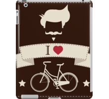 I love hipster vintage hair style, mustache and bicycle iPad Case/Skin