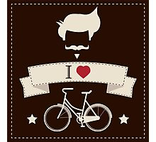 I love hipster vintage hair style, mustache and bicycle Photographic Print