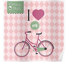 Vintage bicycle background Poster