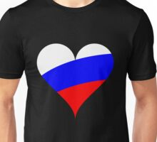 Russia Flag Heart Unisex T-Shirt