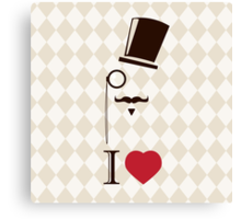Vintage card with top hat, monocle and mustache Canvas Print