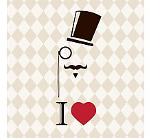 Vintage card with top hat, monocle and mustache Photographic Print
