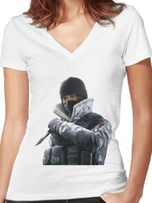 Frost - Rainbow 6 Siege - portrait Women's Fitted V-Neck T-Shirt