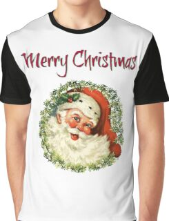 Merry Christmas from Retro Santa in a Wreath  Graphic T-Shirt